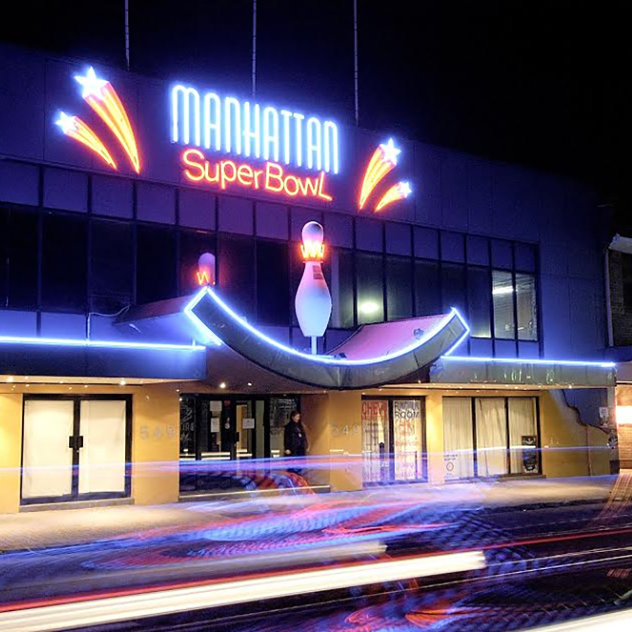 Venue from street at night
