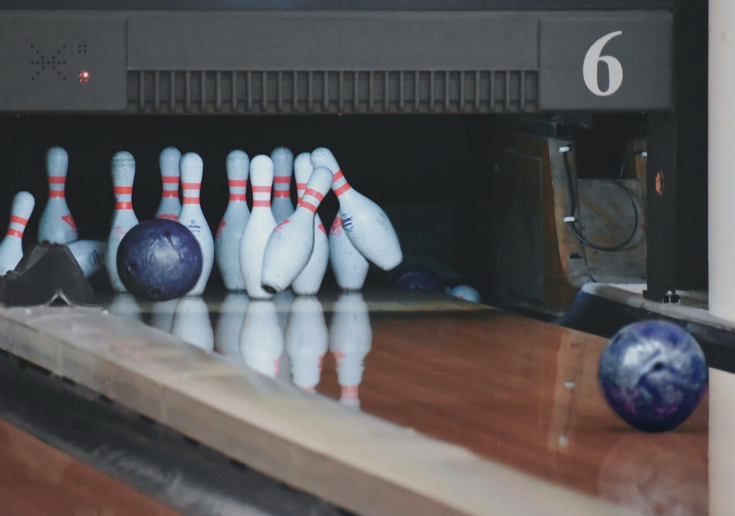 A ball striking the pins